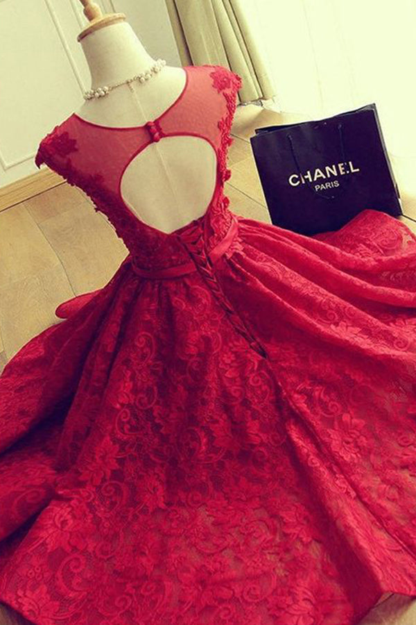 f081d3e3d2f Red Lace Cheap A-line Scoop Homecoming Dresses Short Prom Dresses ...