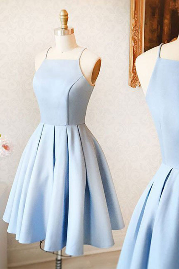 Light Blue Cute A-Line Halter Homecoming Dress,Short Prom Dress, PH119