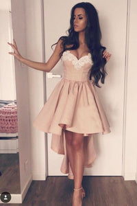 Pink A-Line Sweetheart High Low Satin Homecoming Dress with Appliques,PH120