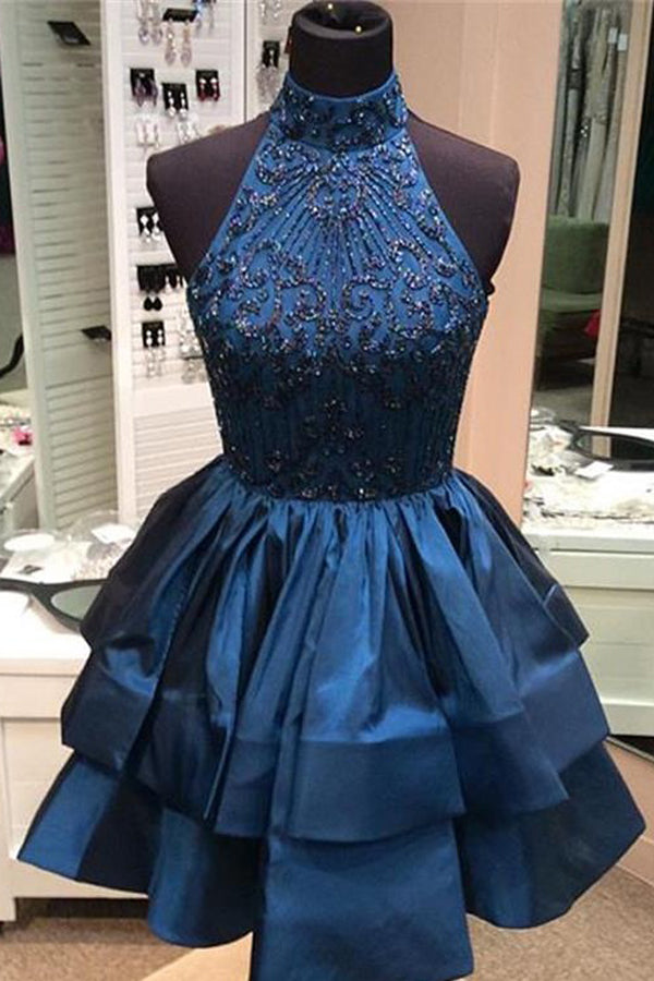 1993f14830a2 ... Green Halter Open Back Homecoming Dresses with Beading,Short Prom  Dresses, PH121 ...