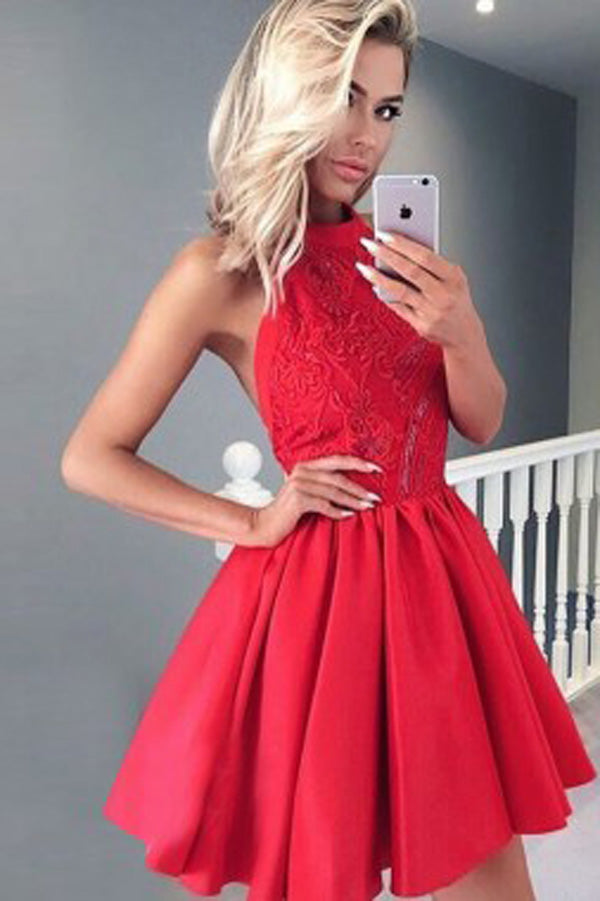 Red Satin A-Line Halter Open Back Short Homecoming Dress with Lace,PH126