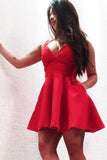 Red Satin A-Line Scoop Cheap Short Homecoming Dress with Pockets, PH127