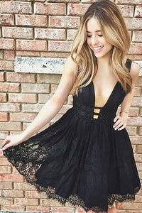Black Lace Cute Homecoming Dress,Short V Neck Party Dresses,PH128