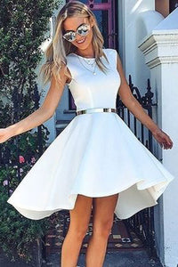 White Trendy High Low Homecoming Dress,Fashion Short Prom Dresses,PH129