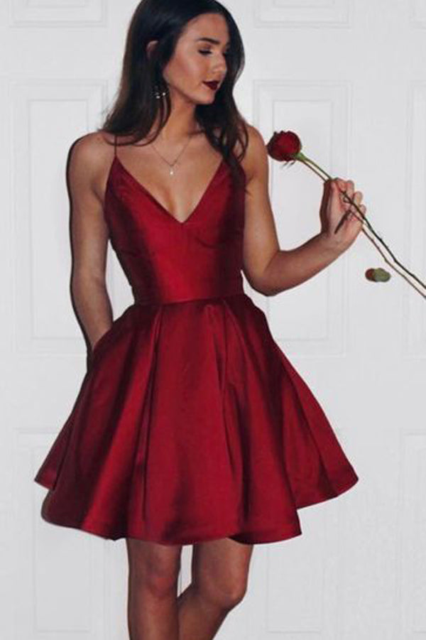 Burgundy Homecoming Dresses,Short Cute Simple Spaghetti Straps Prom Dress, PH231