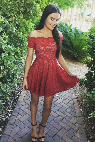 A-Line Off-Shoulder Short Prom Dress, Red Lace Homecoming Dress, SH232