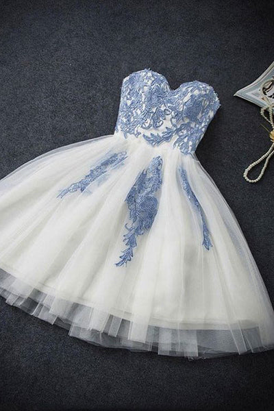 Charming Cute Tulle Homecoming Dress,Elegant Lace Prom Dresses Short, PNH233