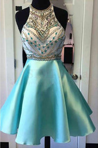 Halter Knee Length Homecoming Dresses with Beading, Graduation Dress, SH238