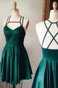 A-Line Homecoming Dresses,Satin Tie Back Sleeveless Short Prom Dresses, SH243