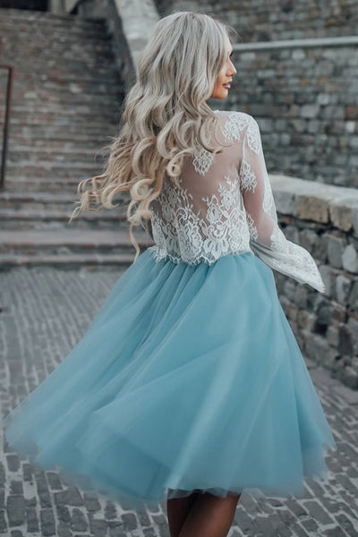 Light Sky Blue lace Homecoming Dresses,Cheap Short Homecoming Dresses for teens, SH244