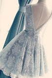 Light Blue Open Back A-Line V-Neck Lace Homecoming Dress with Belt, SH246