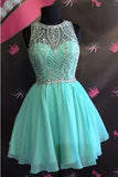 Sexy A-line Scoop Rhinestone Short Chiffon Homecoming Dress PH256