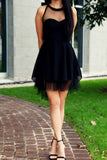 Sweetheart Homecoming Dress Black Short Prom Dress Party Dress, PH266