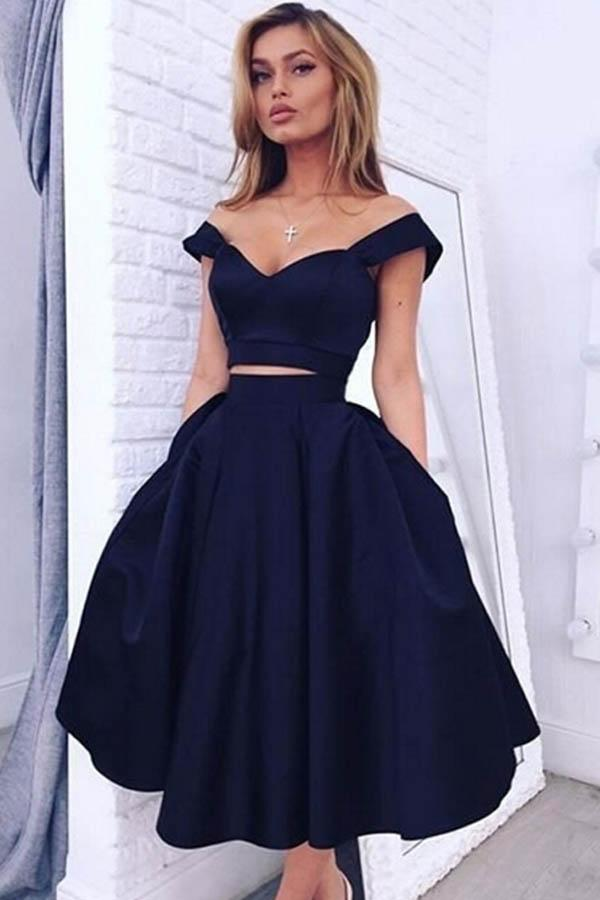 Two Pieces Tea-length Short Satin Homecoming Dress Party Dress,PH277