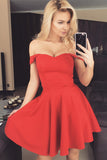 A-line Red Satin Off-the-shoulder Short Homecoming Dress Party Dress, PH279
