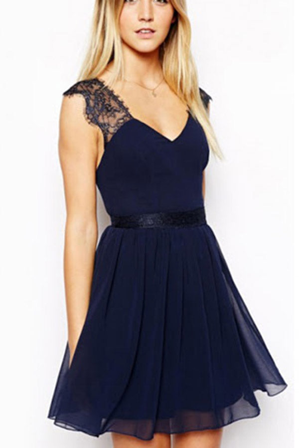 A-line V-neck Lace Dark Navy Homecoming Dress Cheap Short Prom Dress,PH280