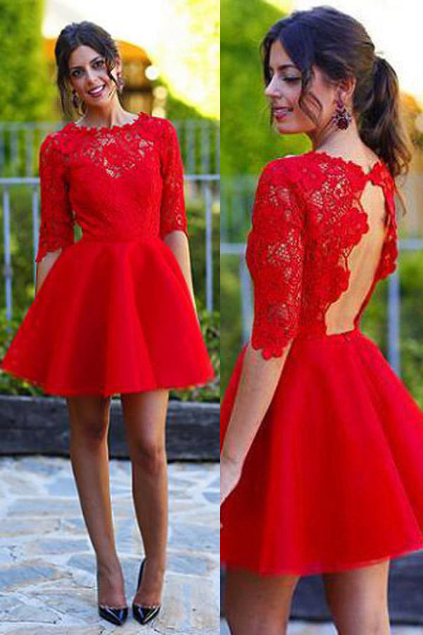 Lace Red A-line Homecoming Dress Sexy Open Back Short Prom Dress, PH281