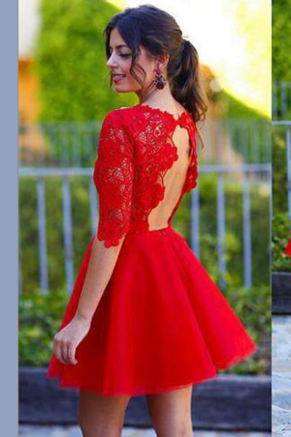 www.simidress.com supply Lace Red A-line Homecoming Dress Sexy Open Back Short Prom Dress, PH281