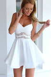 Sexy V-neck Backless Lace White Spaghetti Straps Short Homecoming Dress,PH285