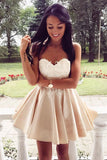 Satin Sweetheart Homecoming Dress Backless Appliques Short Party Dress,PH287