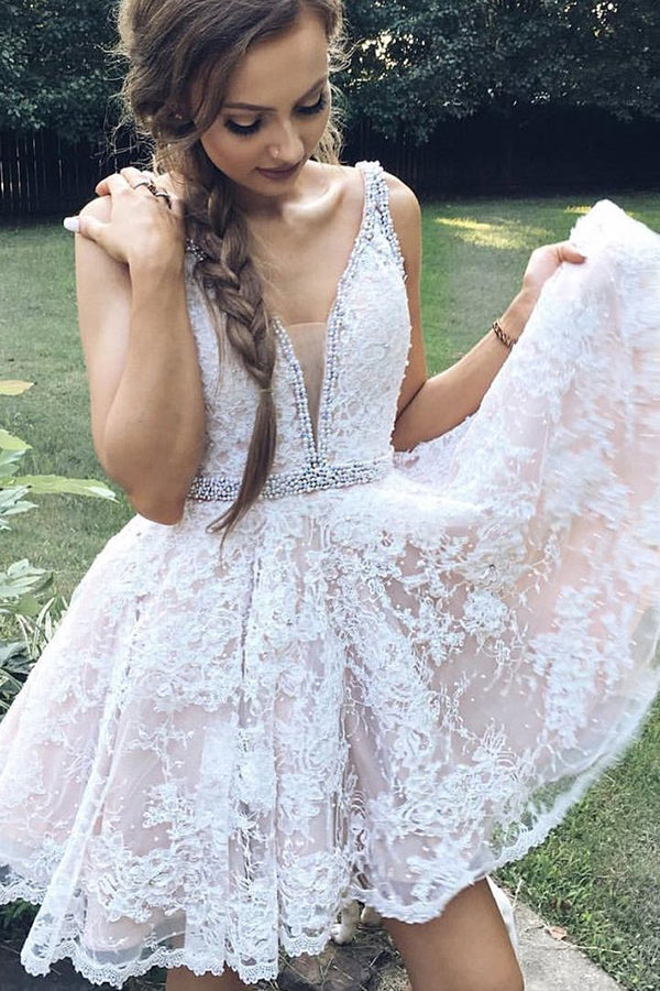 Lace Beading Homecoming Dress Straps Appliques Short Party Dress,PH288