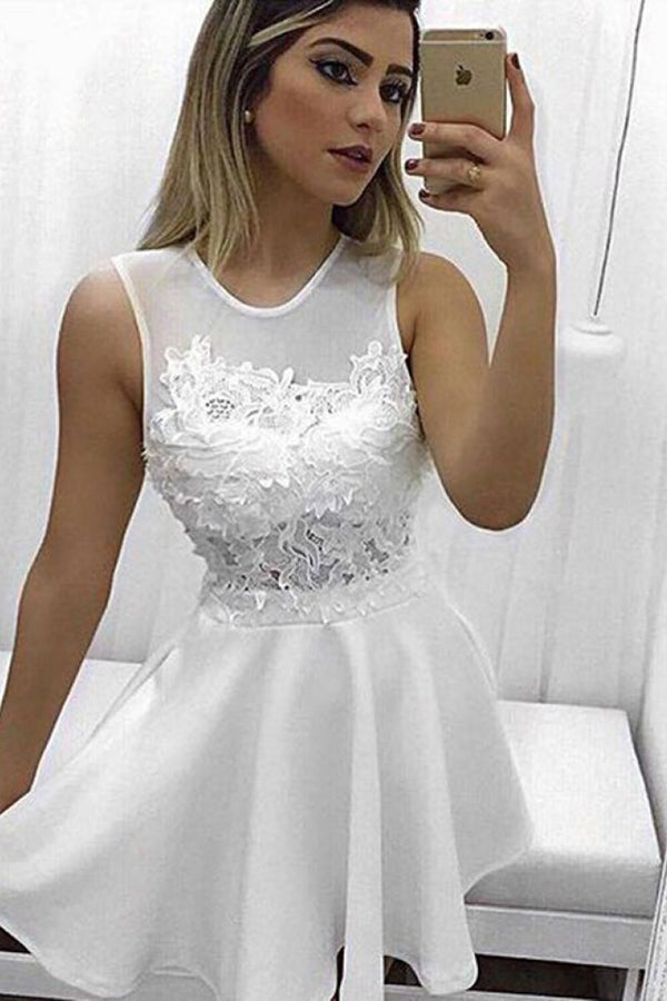 Chic White Satin Round Neck Appliques Homecoming Dress Party Dress,PH290