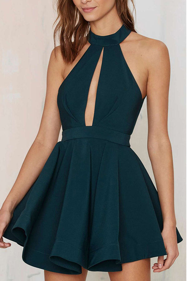 Cheap Short Chiffon Homecoming Dress Sexy Halter Prom Dress Party Dress,PH293