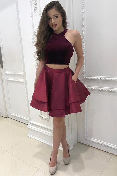 Two Pieces Halter Homecoming Dress Burgundy Short Prom Dress Party Dress,PH295