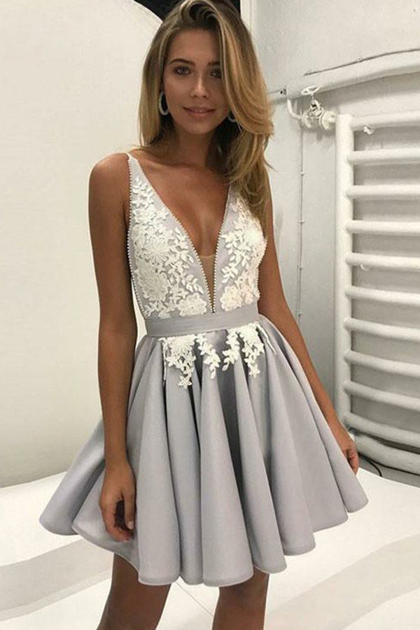 Silver V-neck Appliques Homecoming Dress Short Cheap Backless Party Dress, PH296