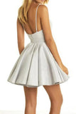 Silver V-neck Appliques Homecoming Dress Short Cheap Backless Party Dress, PH296 from promnova.com
