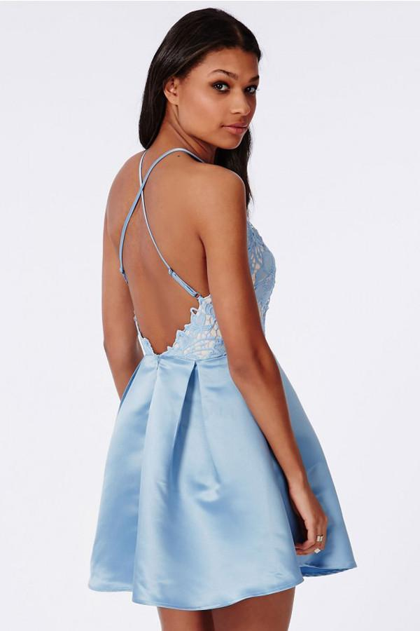 www.promnova.com|Lace Halter Criss-Cross Straps Homecoming Dress Short Satin Prom Dress, PH297