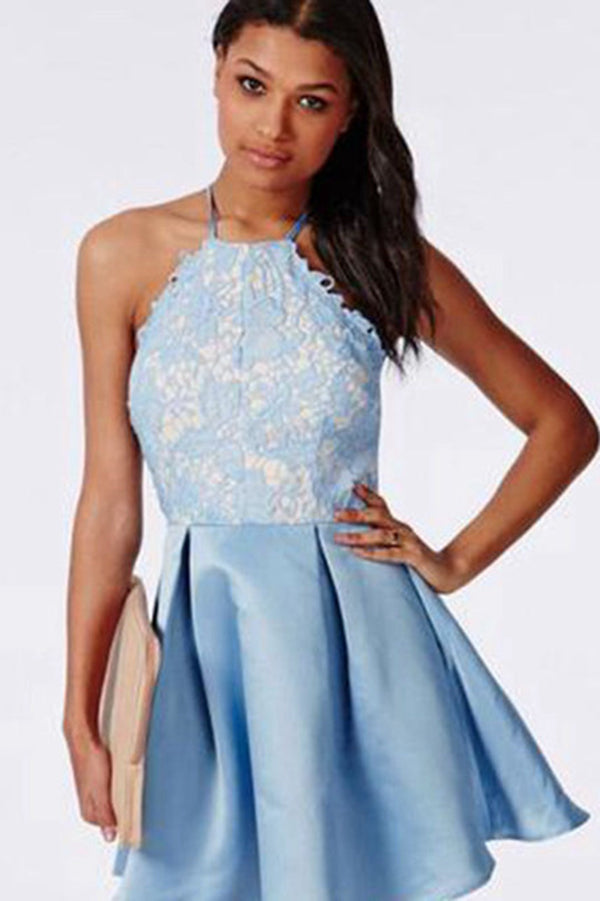 Lace Halter Criss-Cross Straps Homecoming Dress Short Satin Prom Dress, PH297
