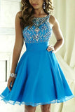 Blue Chiffon Open Back Homecoming Dress Scoop Lace-up Short Prom Dress,PH300 from promnova.com