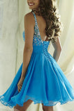 Blue Chiffon Open Back Homecoming Dress Scoop Lace-up Short Prom Dress,PH300