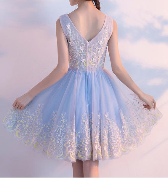 www.promnova.com|V-neck Appliques Homecoming Dress  Tulle Short Prom Dress Party Dress,PH301