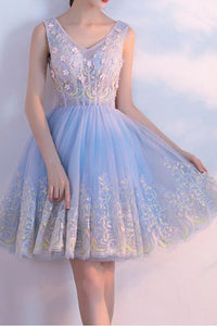 V-neck Appliques Homecoming Dress  Tulle Short Prom Dress Party Dress,PH301