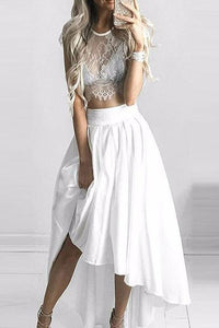 Two Pieces Scoop A-line Asymmetrical White Lace Long High Low Prom Dress,PH302