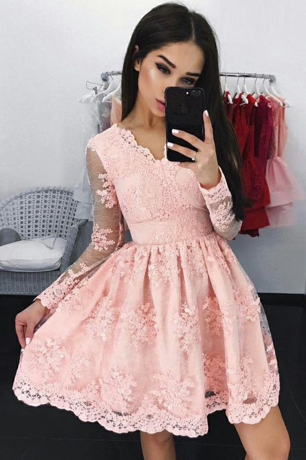 Chic Pink A-line V-neck Lace Short Homecoming Dress Party Dress,PH307