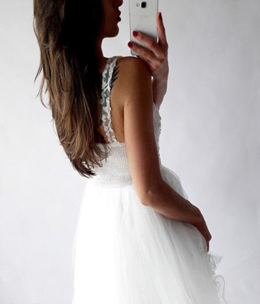 www.promnova.com|White Tulle V-neck Appliques Short Homecoming Dress Prom Dress,PH309