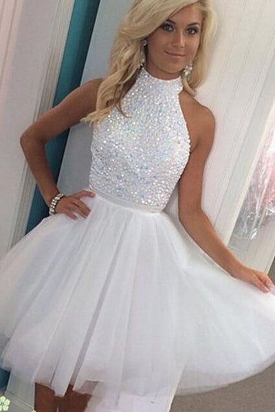 Sexy White Halter Tulle Beading Short Prom Dress Homecoming Dress,PH311