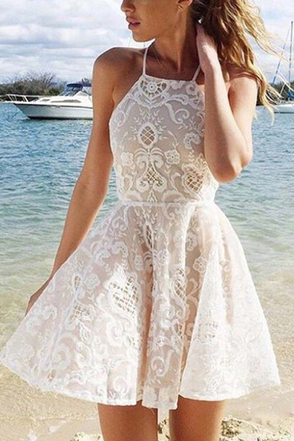 Sexy Halter Lace Ivory Short Homecoming Dress Prom Dress Party Dress,PH312