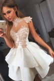 Cute White Sweetheart Lace Short Satin Prom Dress Homecoming Dress,PH316