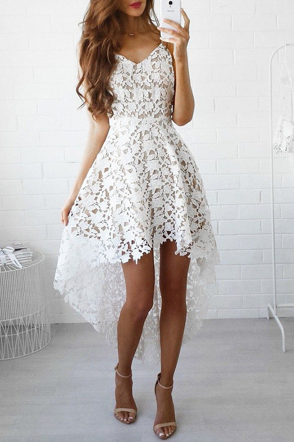 A-line White Lace High low Prom Dress Lace Homecoming Dress,PH317