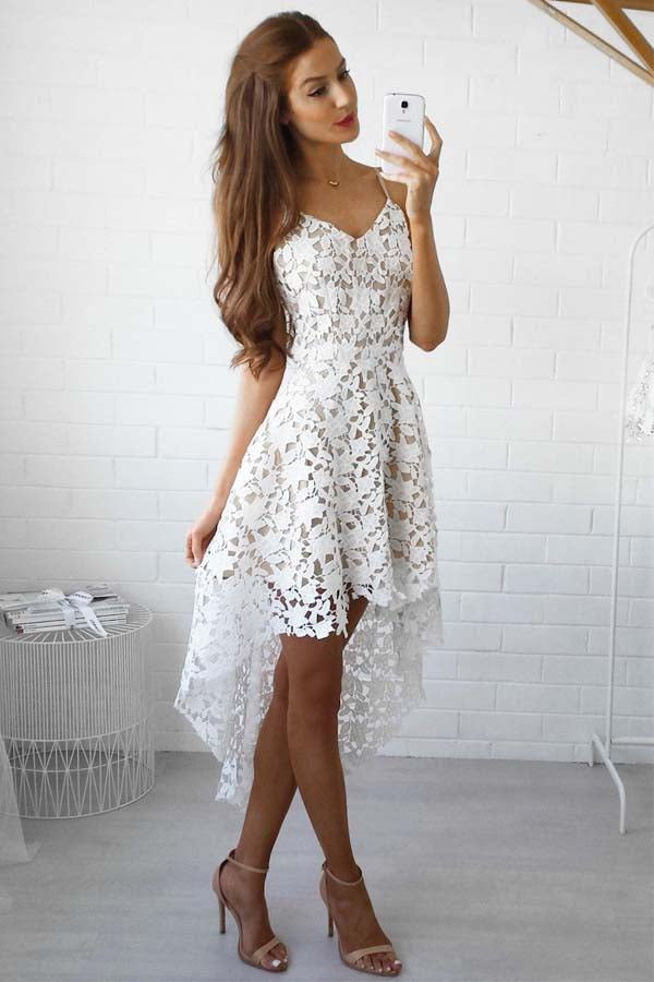 A-line White Lace High low Prom Dress Lace Homecoming Dress,PH317 from promnova.com