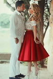 Cute Red Satin Two Pieces Short Lace Prom Dresses Evening Dress,PH319