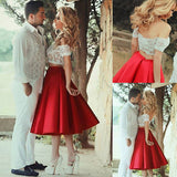 Cute Red Satin Two Pieces Short Lace Prom Dresses Evening Dress,PH319 from www.promnova.com