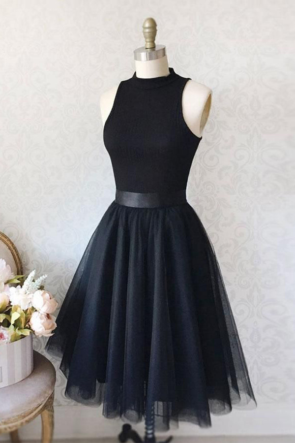 Simple Black Tulle Sleeveless Short Prom Dress Homecoming Dress,PH320