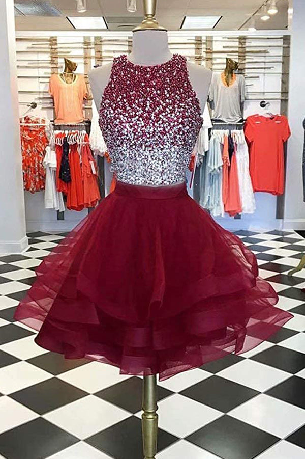 0ca04b5508 Two Pieces Burgundy Sequin Tulle Short Prom Dress Homecoming Dress ...