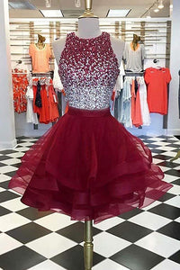 Two Pieces Burgundy Sequin Tulle Short Prom Dress Homecoming Dress,PH321