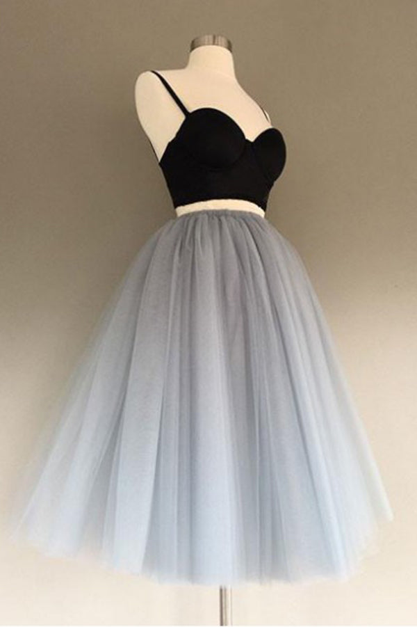 Gray Tulle Two pieces Sweetheart Short Prom Dress Homecoming Dress,PH329 from promnova.com